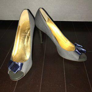 J. Crew Gray Flannel Peeptoe Bow Heels